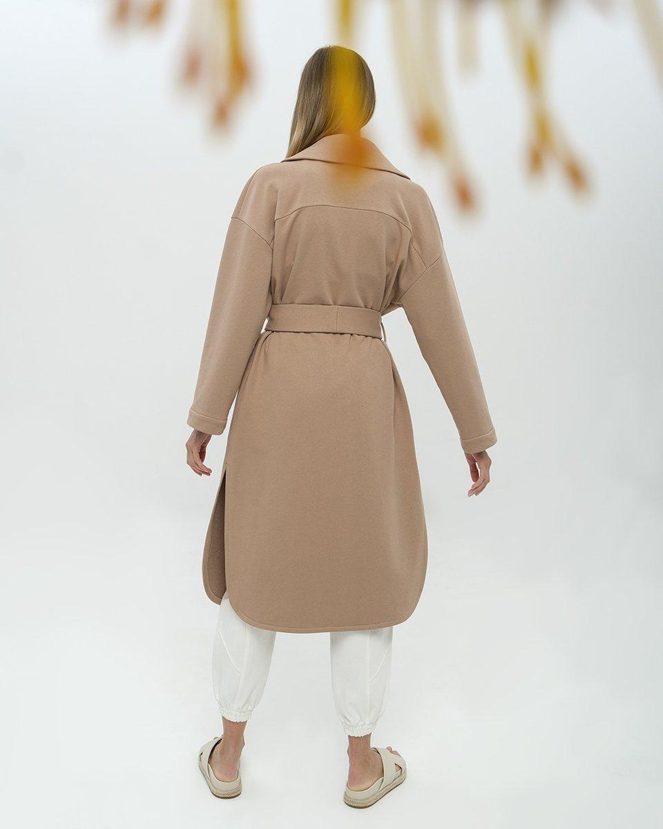 Спортивное пальто-кардиган из бежевого футера