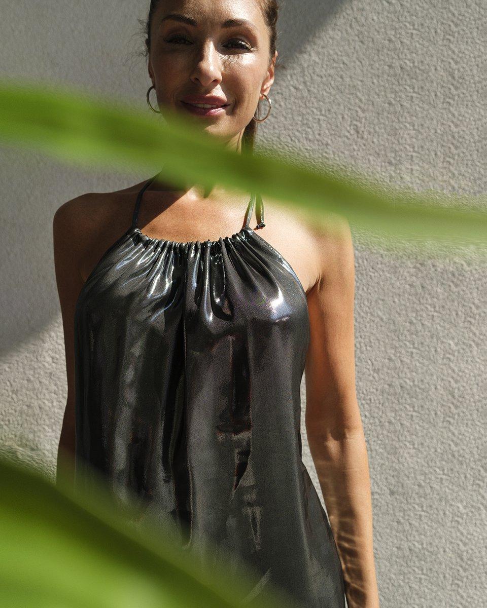 """Платье-макси """"Слюда"""" серебряного цвета с открытой спиной"""