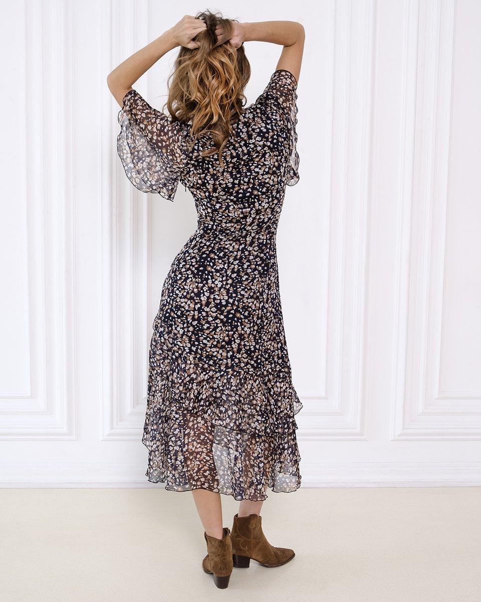 Платье с воланами и цветочным принтом в коричневом цвете. Коллаборация ES&DS