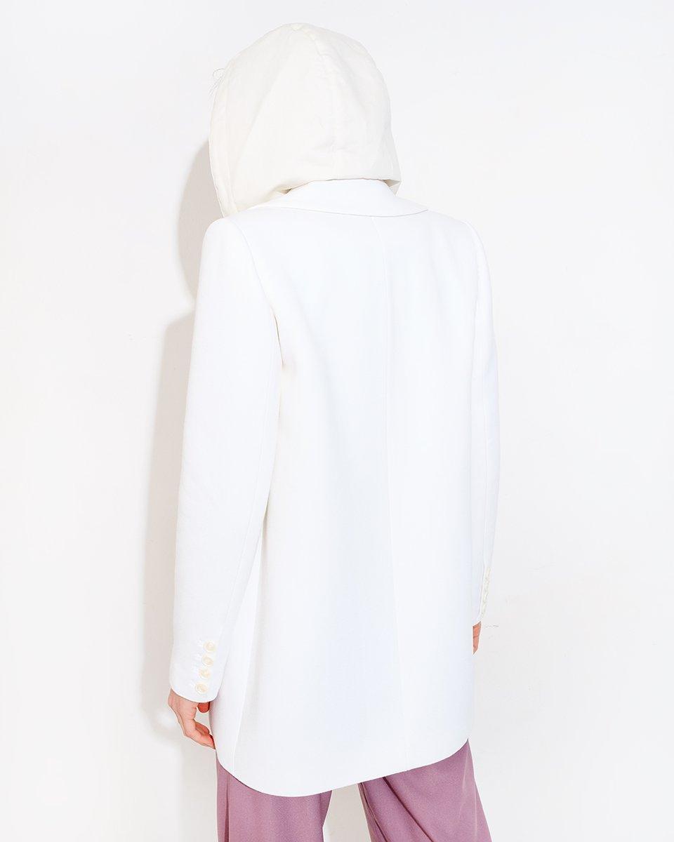 Полупальто со съемным капюшоном, белого цвета