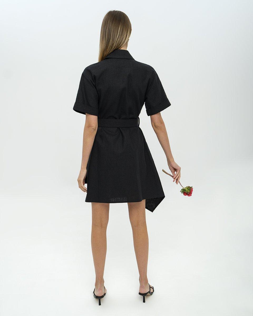 Платье-рубашка из льна с асимметричным подолом