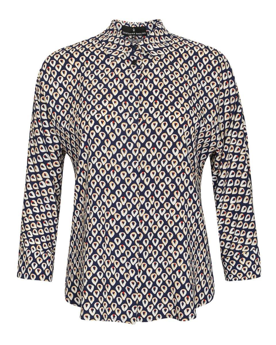 Блуза из вискозы, в яркий принт
