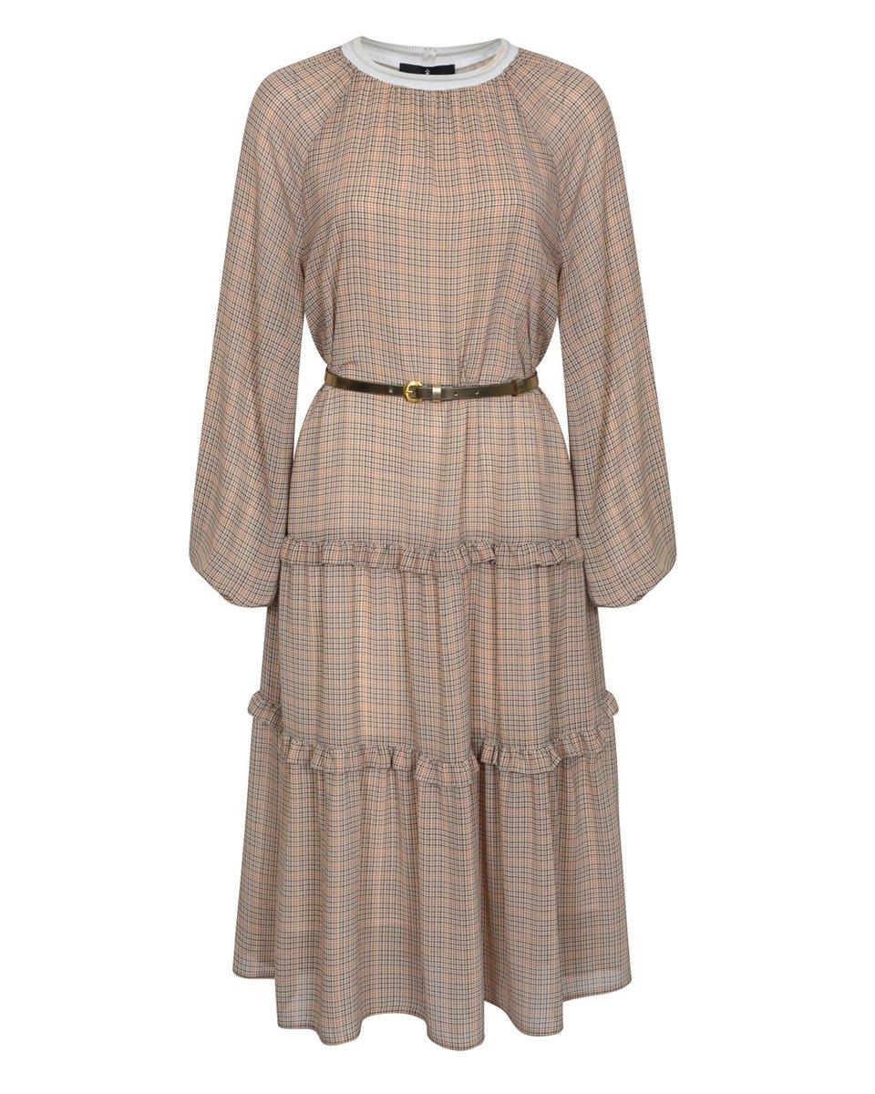 Платье в клетку, с пышной юбкой и воланами