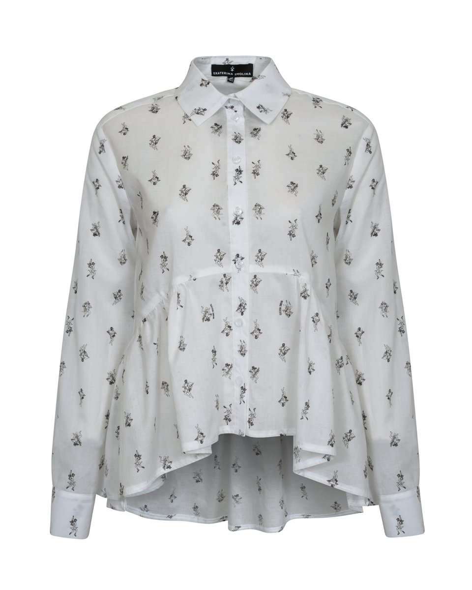"""Блуза с воланом и принтом """"Амуры"""""""