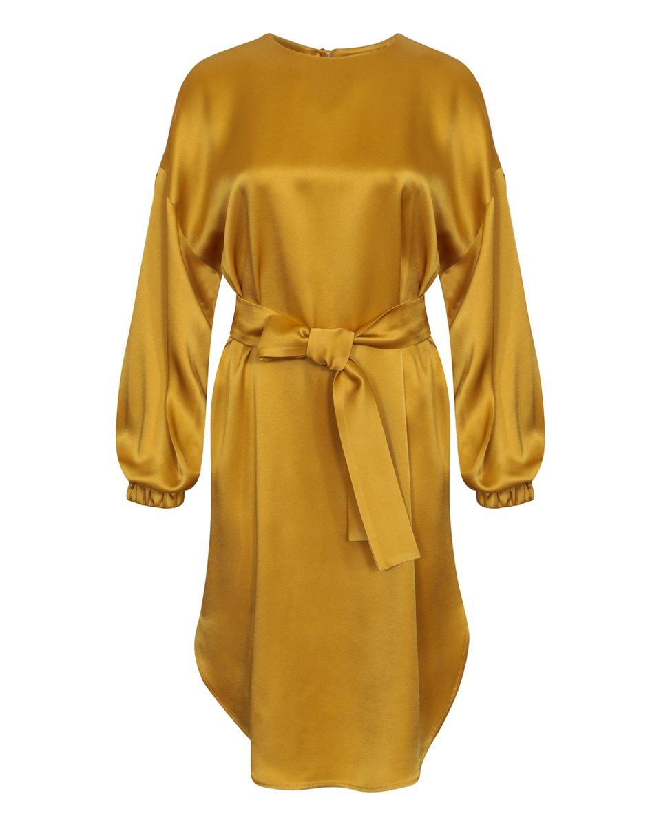 Платье атласное свободного кроя, желтое