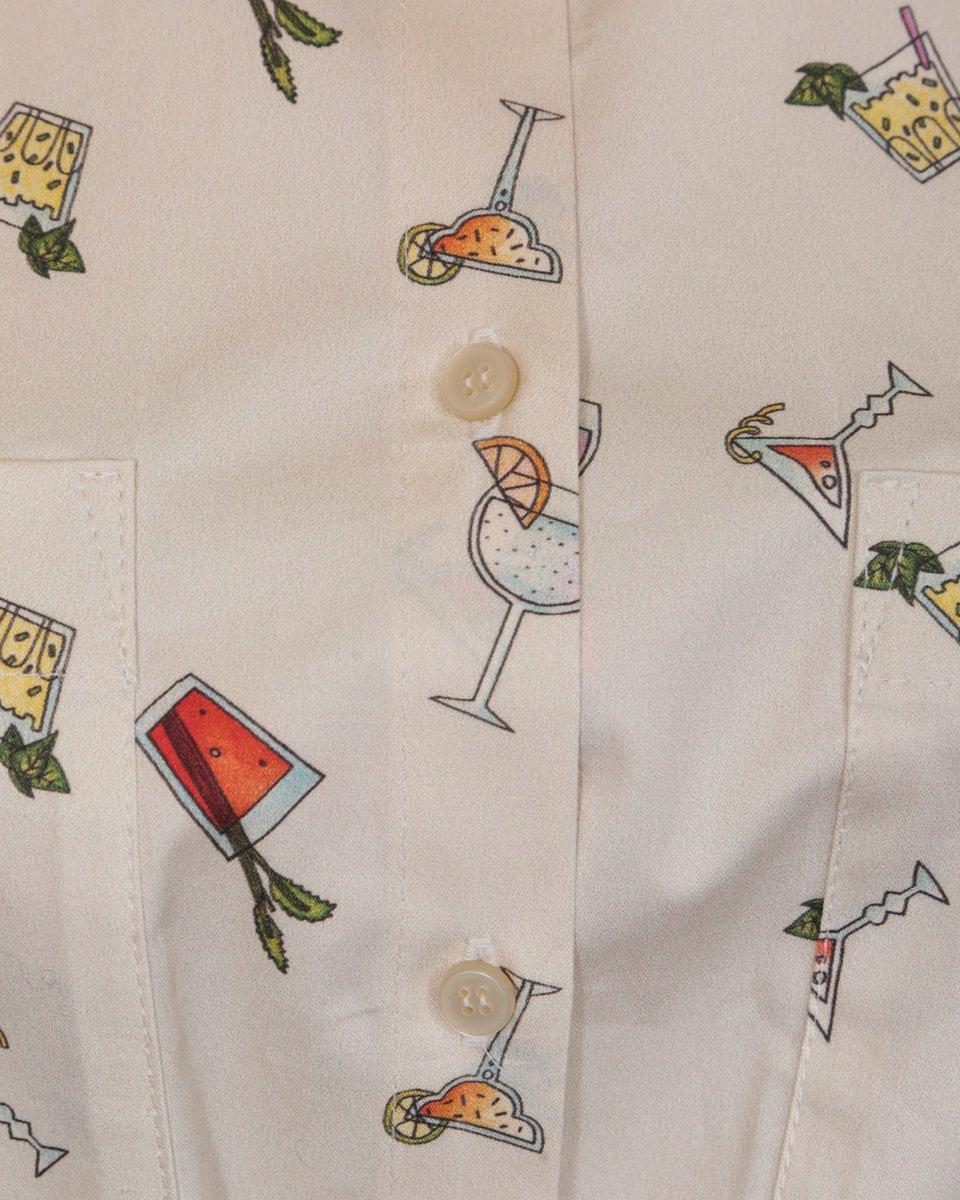 "Рубашка с коротким рукавом с поясом, с принтом ""Коктейли"""