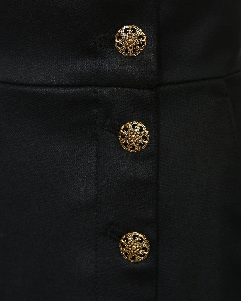 Юбка из шерстяной ткани, с пуговицами и разрезом