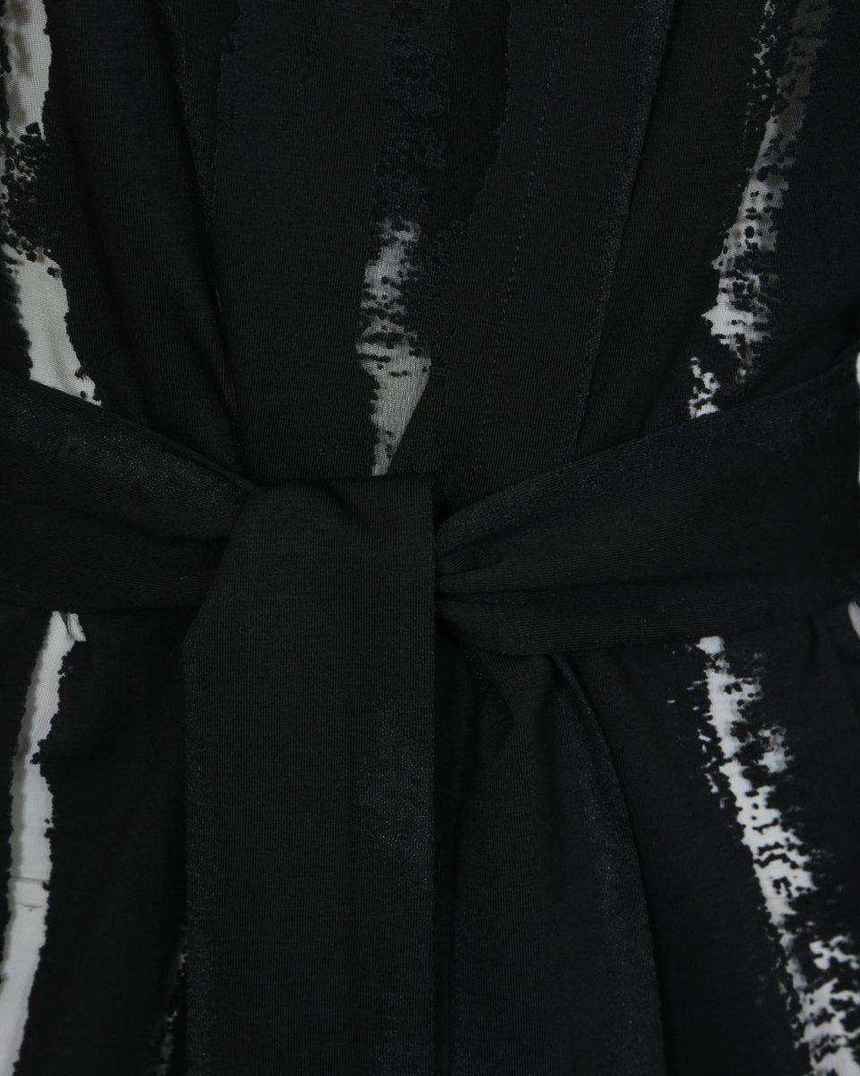 Туника черного цвета на запах с прозрачными полосами