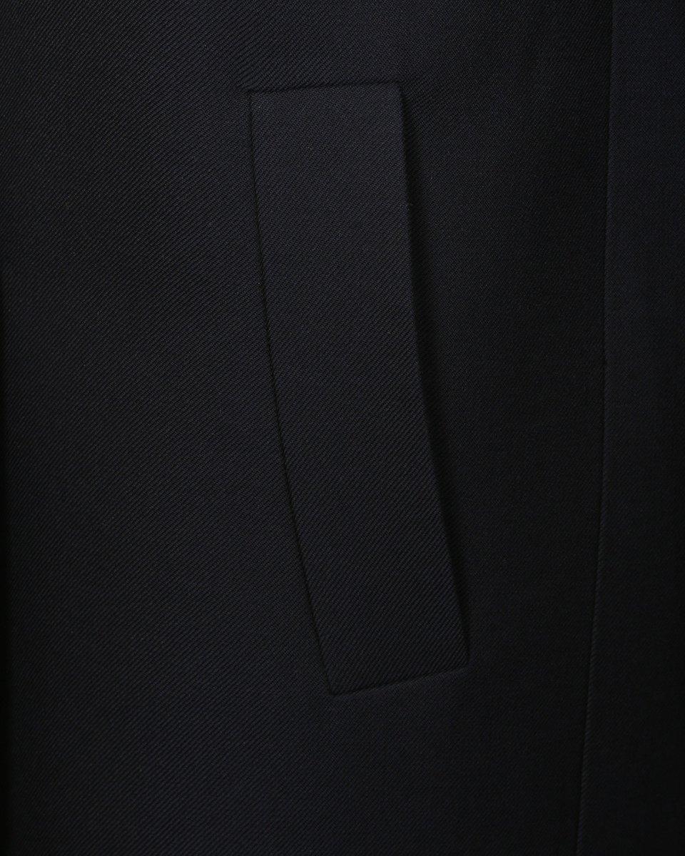 Пальто-жакет темно-синего цвета с капюшоном
