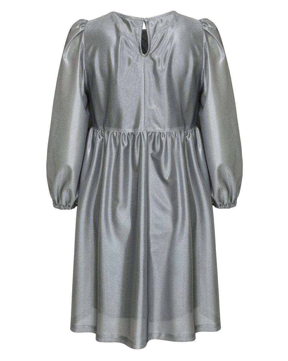 Платье серебряного цвета с воланами