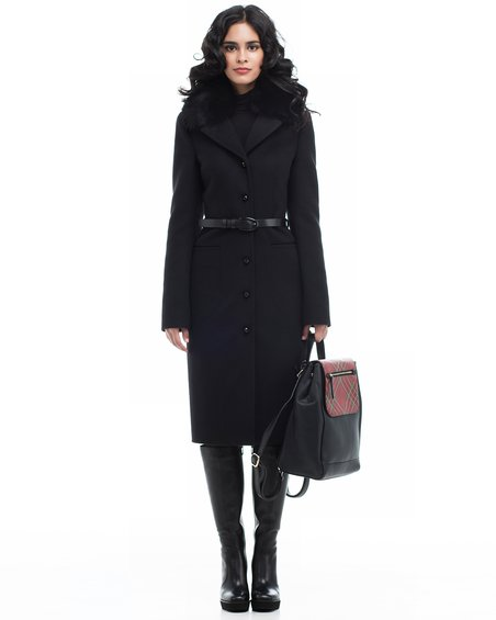 Пальто черного цвета от юбкой-тюльпан