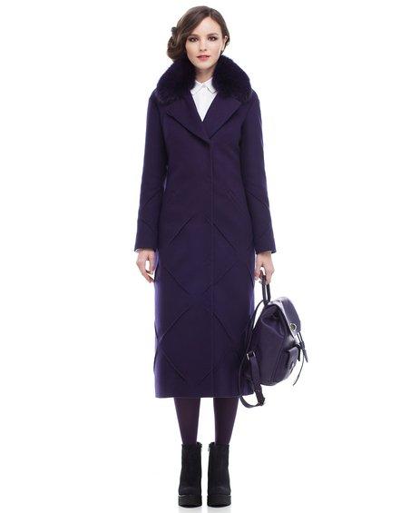 Пальто длины миди не без; декоративными элементами нате юбке