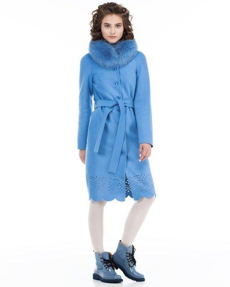 Пальто нежно-голубого цвета из фестонами