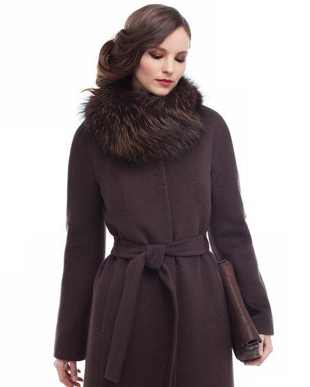 Пальто  со меховым воротником-шалью, коричневое