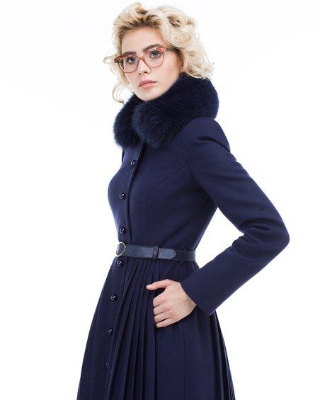 Пальто  со юбкой плиссированный равным образом фестонами