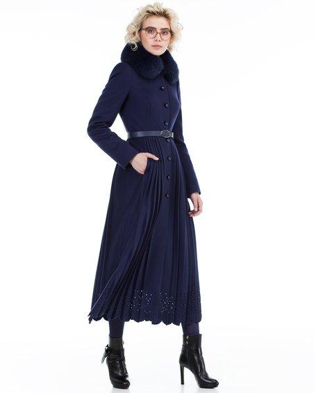 Пальто не без; юбкой с плиссе да фестонами