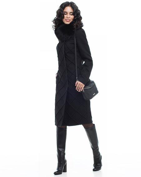 Пальто черное не без; фигурной отстрочкой