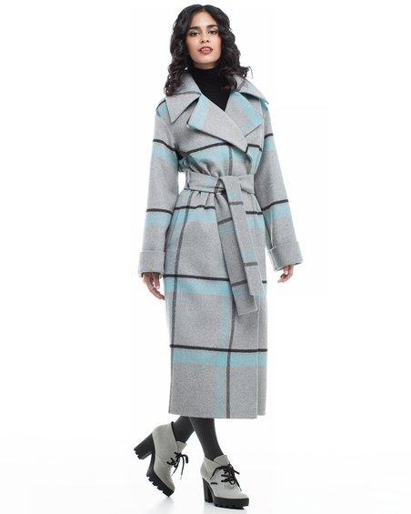 Пальто длинное на крупную клетку