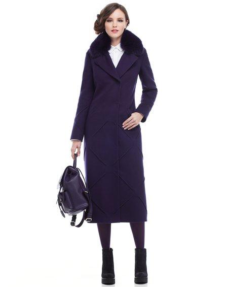Пальто длины миди  со декоративными элементами в юбке