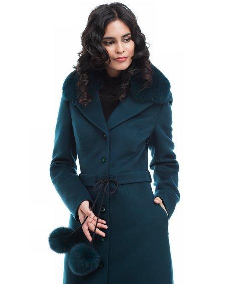 Пальто удлиненное изумрудного цвета